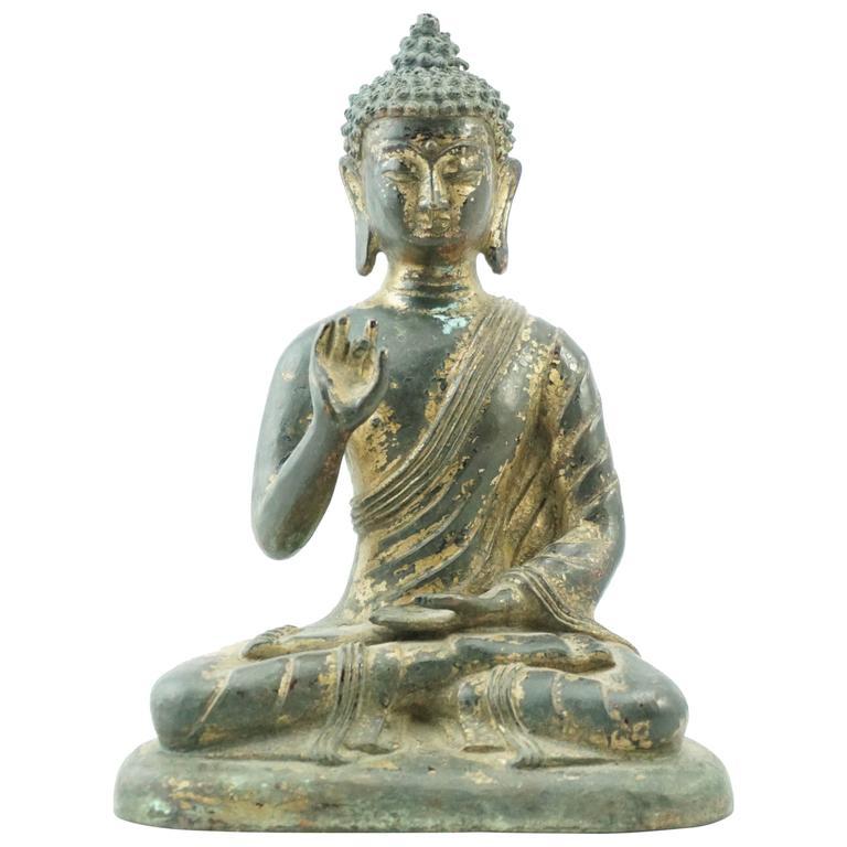 Late Ming 16th-17th Century Chinese Tibetan Gilt Bronze Shakyamuni Buddha