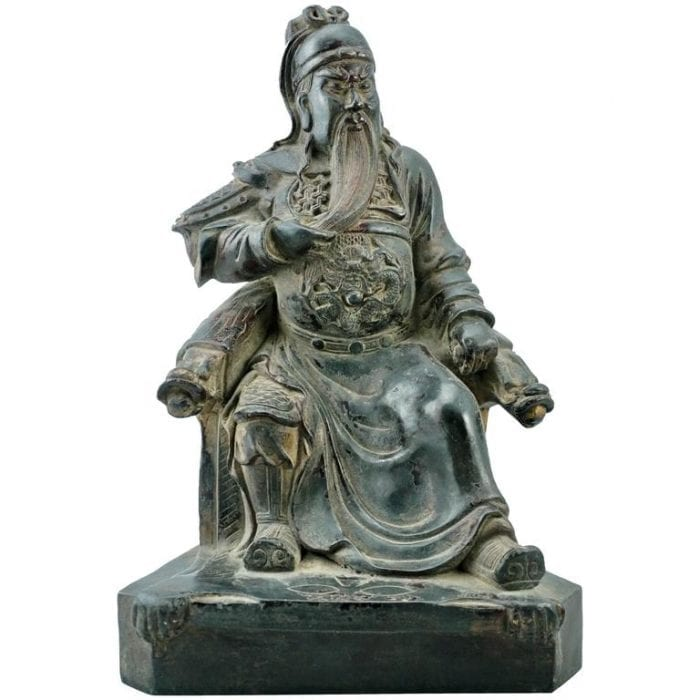 Late Ming 17th Century Bronze Of A Seated Emperor Or General