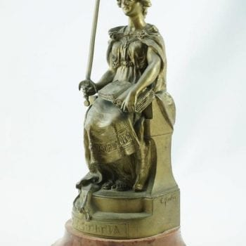 "Carl Kauba Bronze Figure of ""Justitia"" Seated Woman with Sword"