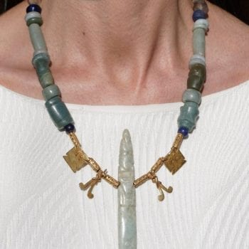 Pre Columbian Jade Axe Celt God and Gold Pendant Necklace