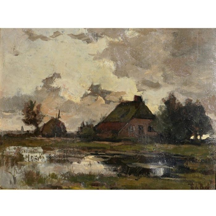 Theophile de Bock Farm House Landscape Oil Painting