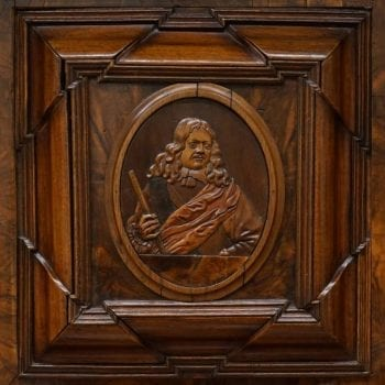 17th Century Louis XIII Burl Walnut Sideboard Cabinet with Carved Portrait