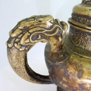 Tibetan 19th Century Brass Dragon Tea Pot