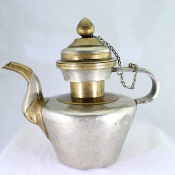 19th Century Tibetan Metallic Silver and Brass Prayer Teapot