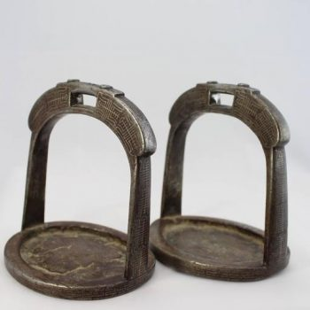 19th Century Tibetan Iron and Silver Inlaid Stirrups