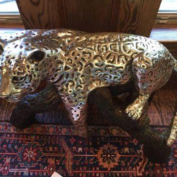 D'argenta Large Silver Plated Ricardo Del Rio Bronze Leopard