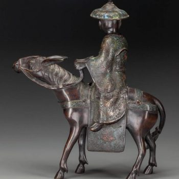 Qing Chinese Bronze and Cloisonné Figural Group 'Man on Horseback'