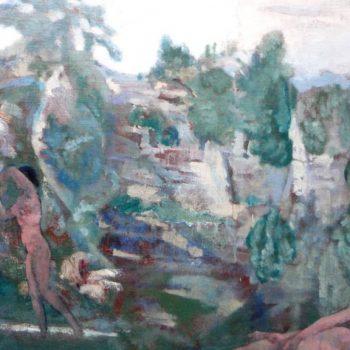 "Arthur Bowen Davies ""Idyllic Landscape"" circa 1915"