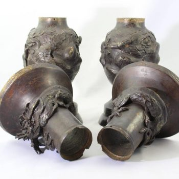 Pair Japanese Meiji Bronze Dragon Vases, 19th Century