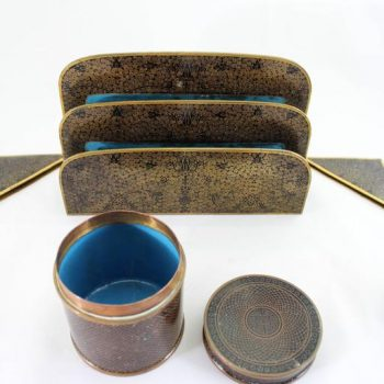 Chinese Cloisonné Ten-Piece Desk Set, circa 1900
