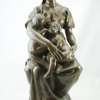 "19th Century Paul Dubois Barbedienne Bronze of Mother and Child ""Charity"""