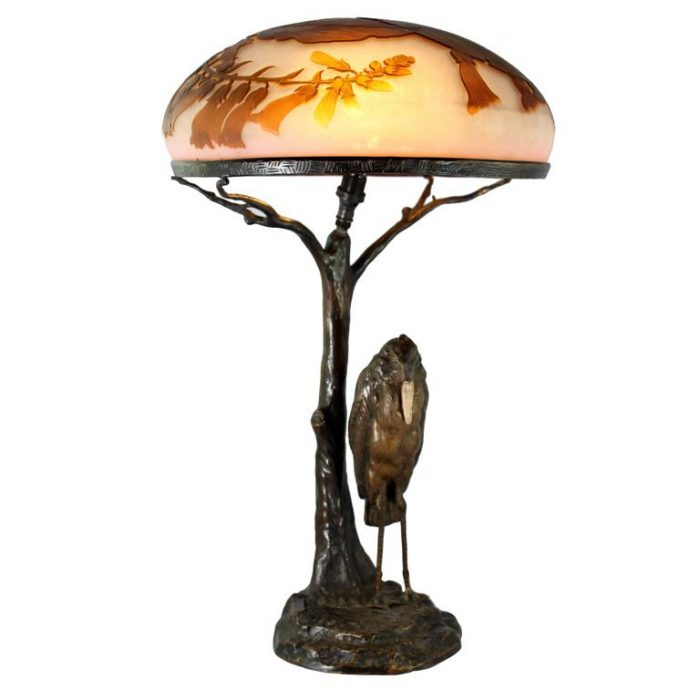 Emile Galle, Peter Tereszcuk Bronze and Cameo Glass Art Nouveau Lamp