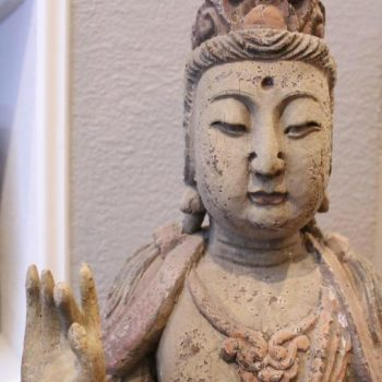 19th Century 40″ Chinese Polychromed Statue or Guanyin or Buddha