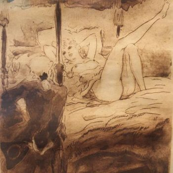 "Three Louis Icart Sepia Etchings ""La Nuit et le Moment,"" 1946"