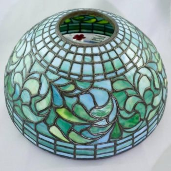 Tiffany Studios New York 1445 Swirling Leaf Table Lamp Shade, circa 1910