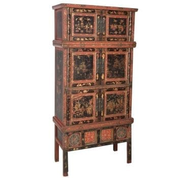 Tall Chinese Painted and Partial-Gilt Wedding Chest