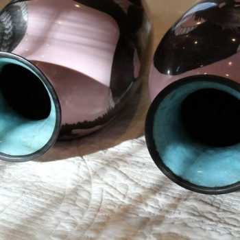 Pair of Large Meiji Japanese Pink Cloisonné Dragon Vases