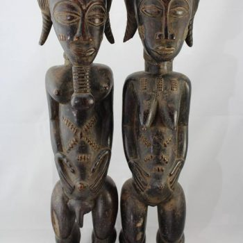 20th Century or Earlier Large Baule Cote D'Ivoire Male and Female Figures