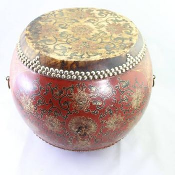 Chinese Lacquered Ceremonial Two-Sided Drum with Snare 19th Century