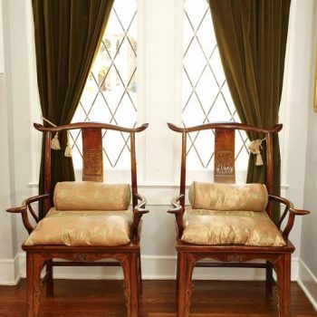 Pair of Elmwood 'Official's Hat' Yoke Back Armchairs, Guanmaoyi
