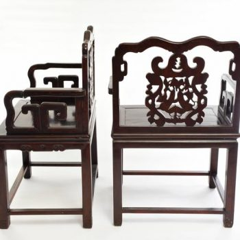 Pair of 19th Century Qing Wood Carved Chinese Armchairs