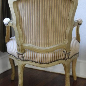 Period Louis XV Signed Upholstered Armchair Fauteuil, 18th Century
