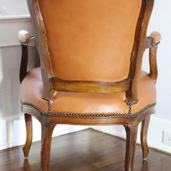 Louis XV Period Leather Upholstered Fauteuil Armchair, 18th Century