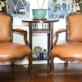 Pair of French 18th Century Louis XV Leather Upholstered Walnut Armchairs