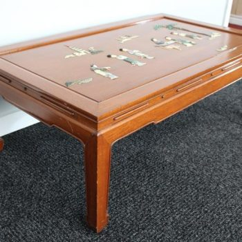 Mid-Century Chinese Scenic Inlay Rosewood Coffee Table