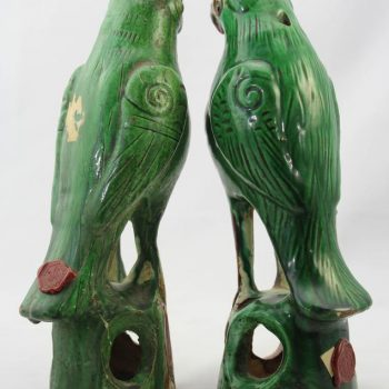 Qing Dynasty Pair of Glazed Terracotta Birds