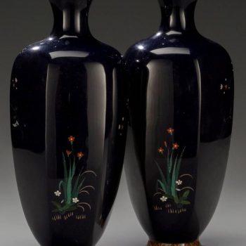 Pair of Meiji Japanese Cloisonne Vases by Hayashi Chuzo, circa 1900