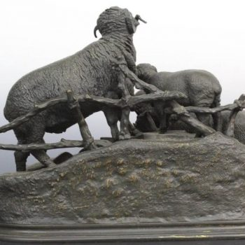 19th Century Jules Moigniez French Bronze Grouping of Ram or Sheep Family