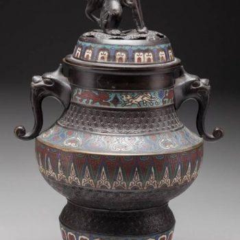 Japanese Meiji Period Cloisonne Bronze Censer