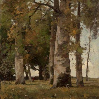 Théophile De Bock a Figure in a Wooded Landscape