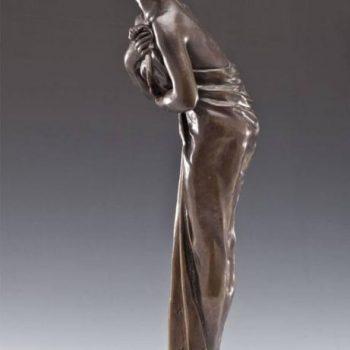 "Lucien Charles Edouard Alliot Art Nouveau Bronze Sculpture ""Phalene"""