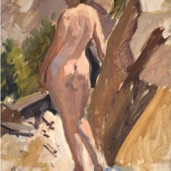 Myron Nutting, Art Deco Nude Woman Outdoors Painting, 1933