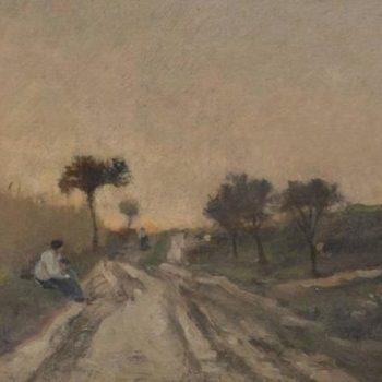 Charles François Daubigny Oil on Panel Figures Along a Road