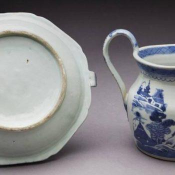 Antique Blue/White Canton Export Porcelain. 19th Century
