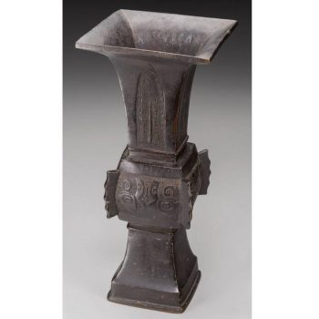 Ming Dynasty Chinese Bronze Gu-Form Vase, 17-18th Century