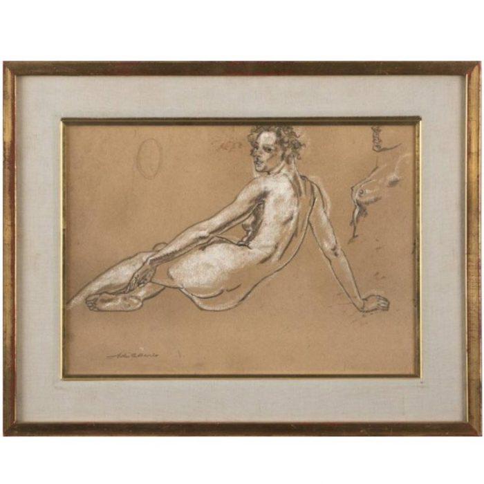 Arthur Bowen Davies Nude Pastel Study, 1900