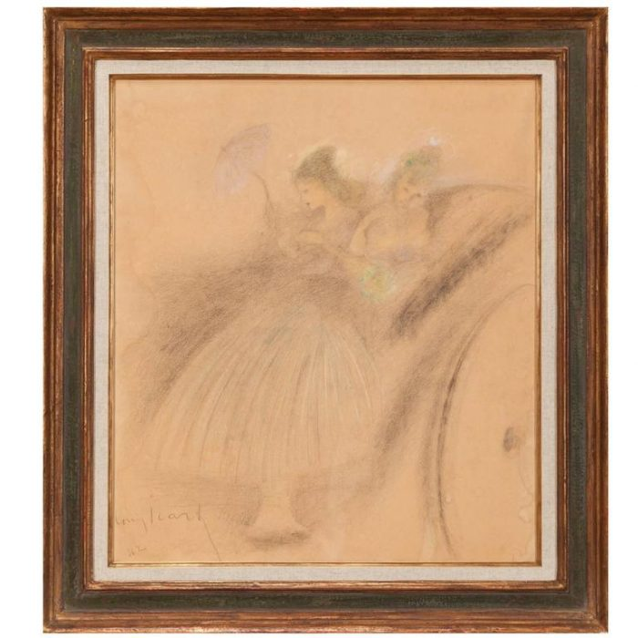 Louis Icart, French, 1888-1950 Ladies in a Carriage Pastel on Paper