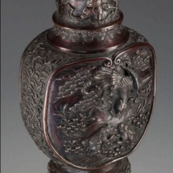 Japanese Meiji Monumental Bronze Vase, 19th century 26-1/2 inches high.